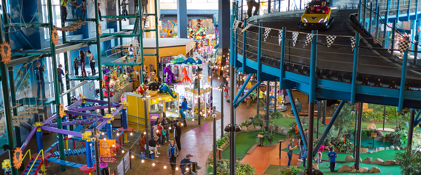 overview of the indoor Theme park at Kalahari in the Wisconsin Dells