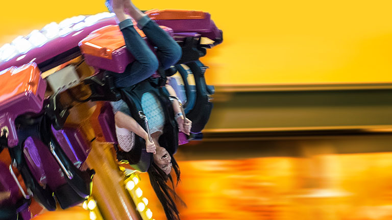 Woman on a amusement ride
