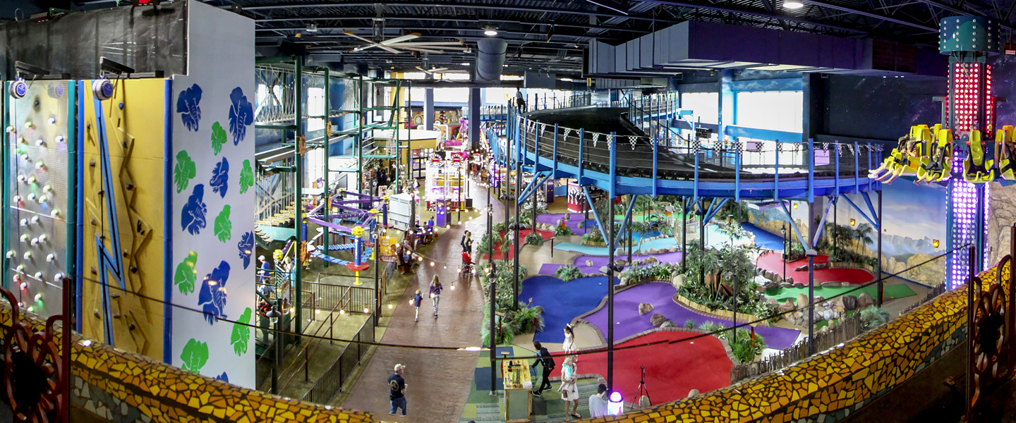 an overview of all the rides inside the indoor theme park